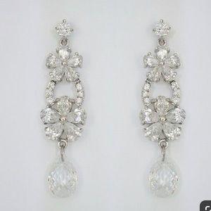 Laura Jayne Bridal CZ Flower Drop Earrings
